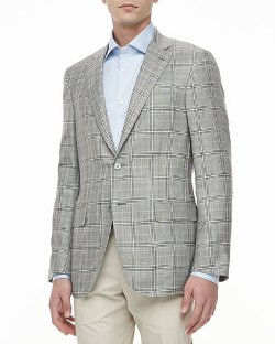 Isaia - Plaid Two-Button Jacket, Gray