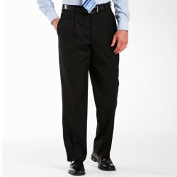 Adolfo - Pleated Black Dress Pants-Portly