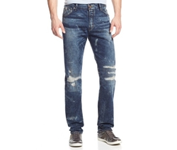 Guess - Regular-Fit Tapered Distressed Jeans