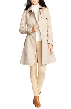 Lauren Ralph Lauren - Faux Leather Trim Trench Coat