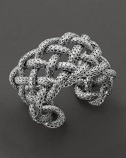 John Hardy  - Classic Chain Silver Wide Braided Cuff Bracelet