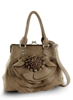 Purse Babe - Faux Leather Large Flower Leopard Print Handbag