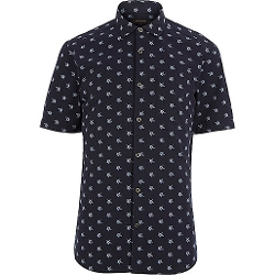 River Island - Navy Star Print Short Sleeve Shirt
