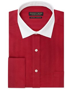 Donald J. Trump - Vintage Red Solid French Cuff Dress Shirt