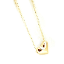 Abc - Heart Bib Statement Chain Pendant Necklace
