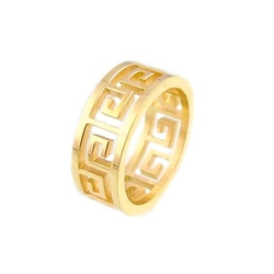 Amythyst - Greek Key Cut Out Band Ring