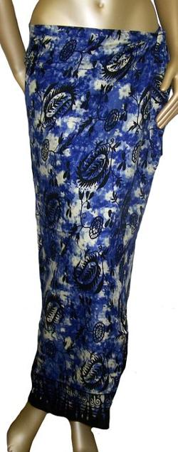 Blue Hawaii - Womens Black Floral Designs Blue Sarong Wrap