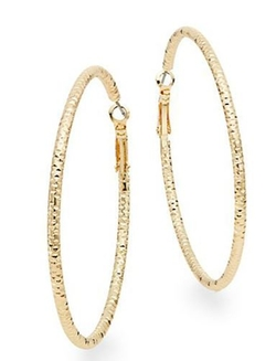 Saks Fifth Avenue  - Large Hammered Hoop Earrings
