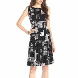 Taylor Dresses - Sleeveless Printed Fit-And-Flare Dress