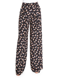 Carolina Herrera   - Feather-Print Wide-Leg Pants