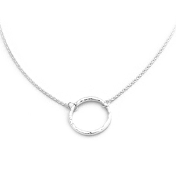 Beauniq -  Silver Hammered Open Circle   Necklace