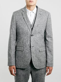 Topman - Grey Textured Skinny Fit Suit Jacket