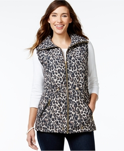 Jm Collection - Quilted Leopard-Print Vest