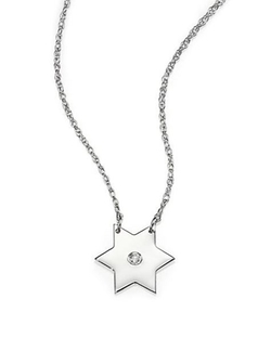 Jennifer Zeuner Jewelry  - Diamond & Silver Star Pendant Necklace