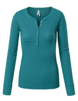 Made By Johnny - Womens Long Sleeve Henley Shirt