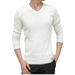 HP-Leisure - V-Neck Hedging Slim Sweaters