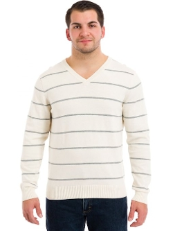 Izod - Allover Stripe V-Neck Sweater