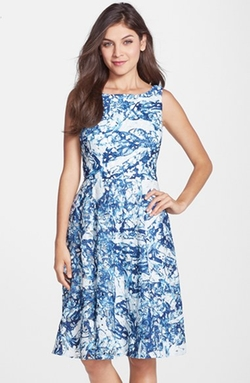 Vera Wang - Print Lace Fit & Flare Dress