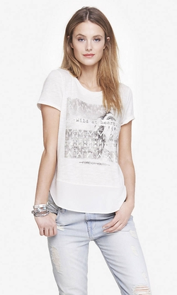 Express - Mixed Fabric Graphic Tee