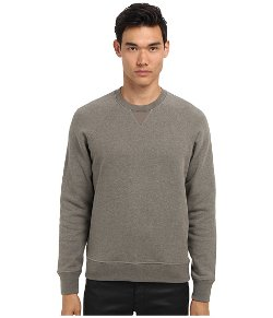 Vince  - French Terry w/ Contrast Poplin Crew Neck Sweater
