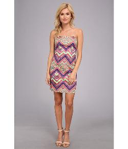 Laundry by Shelli Segal  - Print Strapless Cotton Sateen Dress