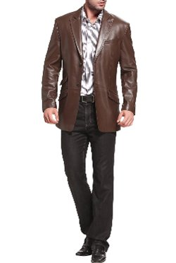 "BGSD - ""Noah"" Peaked-Lapel Leather Blazer"