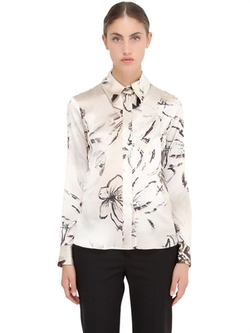 Larusmiani - Floral Printed Silk Satin Shirt