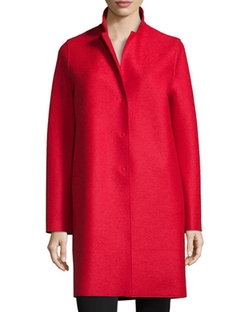 Harris Wharf London - Double-Face Wool Hidden Placket Coat