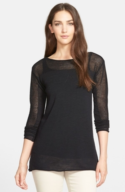 Eileen Fisher - Mesh Detail Bateau Neck Wool Tunic Sweater
