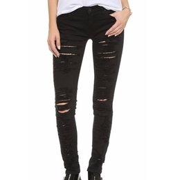 Black Denim - Ripped Skinny Jeans