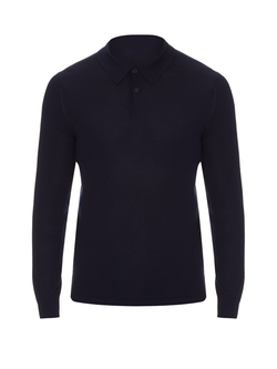 Gieves & Hawkes - Long-Sleeved Fine-Knit Polo Shirt