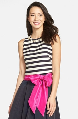 Eliza J - Embellished Stripe Crop Top