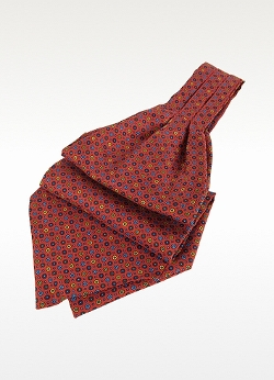 Forzieri - Dots and Flower Print Silk Ascot Tie