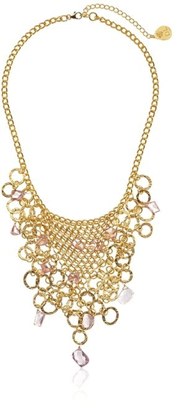 Devon Leigh - Pink Hydro Quartz Bib Necklace