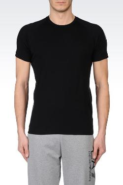 Emporio Armani - T-SHIRT IN STRETCH COTTON WITH LARGE LOGO ON SHOULDER