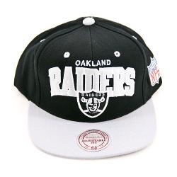 Mitchell & Ness  - Oakland Raiders Flat Brim Snap Back Hat Adjustable