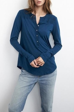 Velvet By Graham & Spencer - Aeliana Textured Henley Top