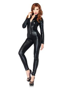 Leg Avenue - Costumes Wet Look Zipper Front Cat Suit