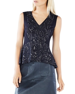 BCBGMAXAZRIA  - Steffiana Lace Knit Jacquard Peplum Top