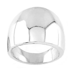 Sterling Silver - Solid Large Cigar Band Dome Ring