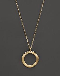 Ippolita  - 18k Gold Mini Wavy Circle Pendant Necklace