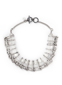 Venna - Marble Sphere Bead Chain Link Necklace