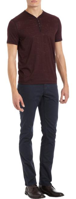 John Varvatos Star U.S.A.  - Snap Button Short Sleeve Henley