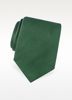 Forzieri - Gold Line Solid Woven Silk Tie