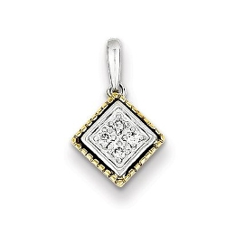 Sterling Silver - Rhodium Plated Square Pendant Necklace