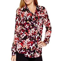 Liz Claiborne - Button-Front Floral Print Blouse