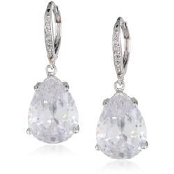 "CZ by Kenneth Jay Lane  - ""Classic"" Pear-Shape Simulated Diamond Drop Earrings"
