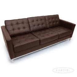 Kardiel  - Florence Knoll Style Sofa 3 Seat, Espresso Genuine Leather