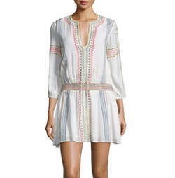 Alice + Olivia - Jolene Embroidered Smocked Dress