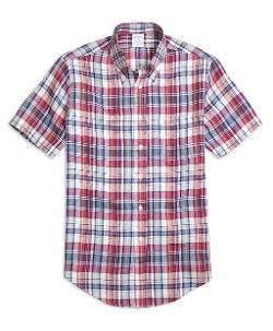Brooks Brothers - Regent Fit Plaid Linen Short-Sleeve Sport Shirt